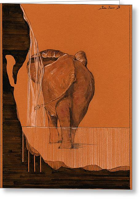 Elephant In River Greeting Card by Juan  Bosco