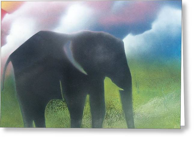 Elephant In The Jungle Greeting Card by William  Dorsett