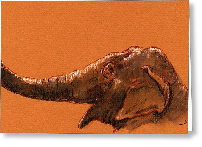 Elephant Indian Greeting Card by Juan  Bosco