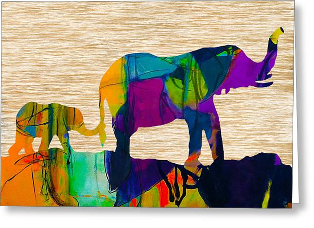 Elephant Journey Parent And Child Greeting Card