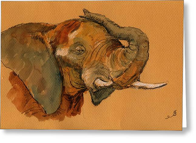 Elephant Greeting Card by Juan  Bosco