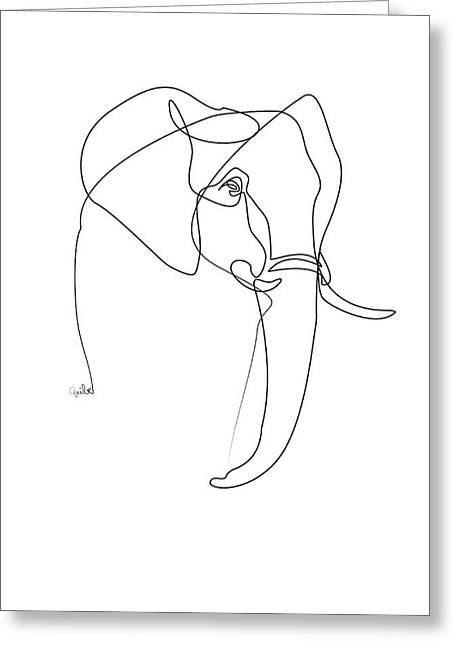 Elephant Line Greeting Card by Quibe
