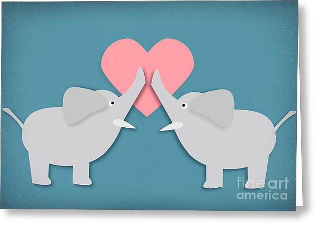 Elephant Love Greeting Card by Sharon Dominick