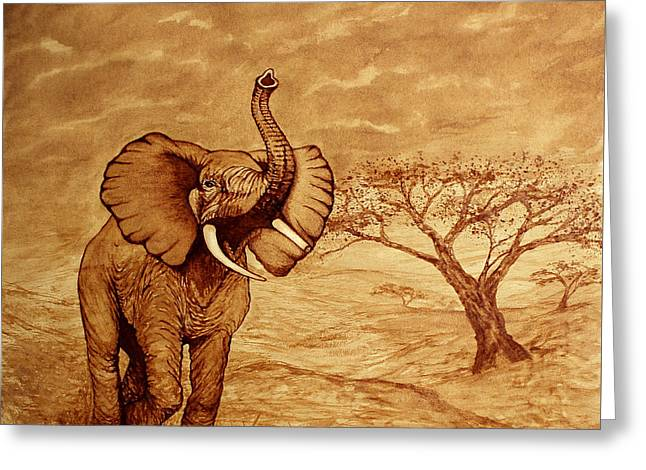 Elephant Majesty Original Coffee Painting Greeting Card