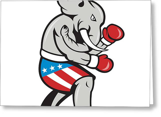 Elephant Mascot Boxer Boxing Side Cartoon Greeting Card by Aloysius Patrimonio