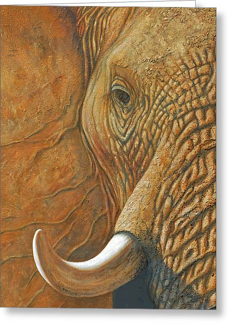 Elephant Matriarch Portrait Close Up Greeting Card
