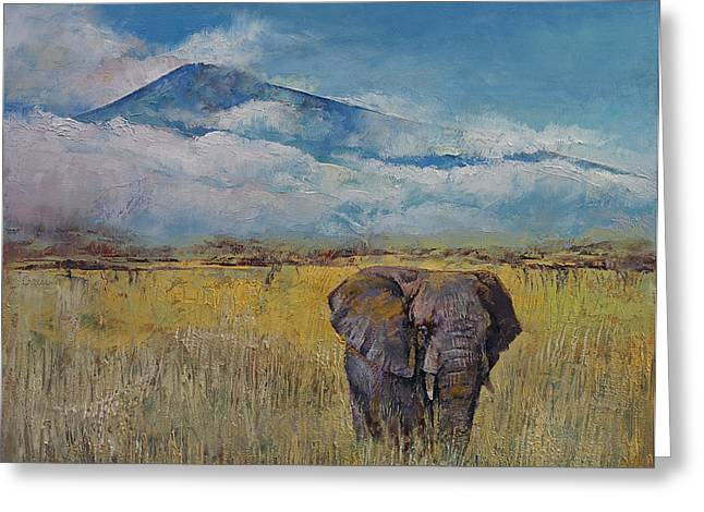 Elephant Savanna Greeting Card by Michael Creese
