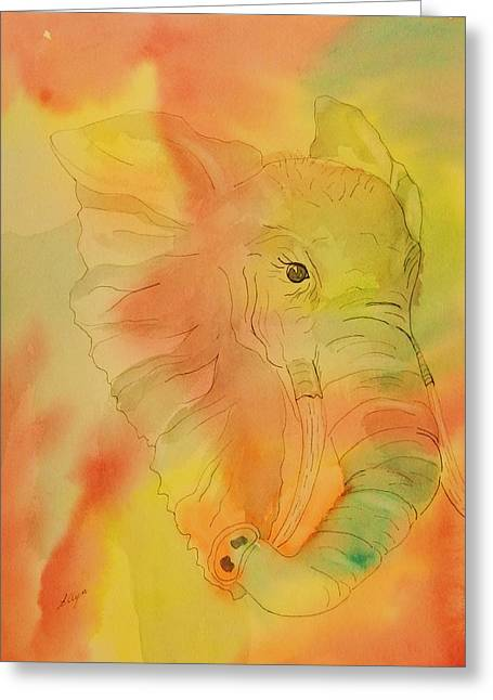 Elephant Mirage Greeting Card by Ellen Levinson