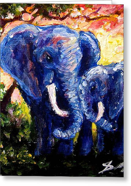 Elephant Mother Andduaghter Greeting Card by Sebastian Pierre