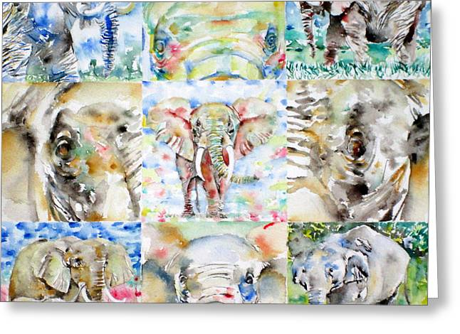 Elephant - Nine Points Of View Greeting Card by Fabrizio Cassetta