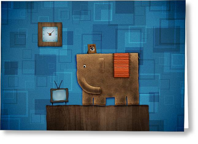 Elephant On The Wall Greeting Card by Gianfranco Weiss