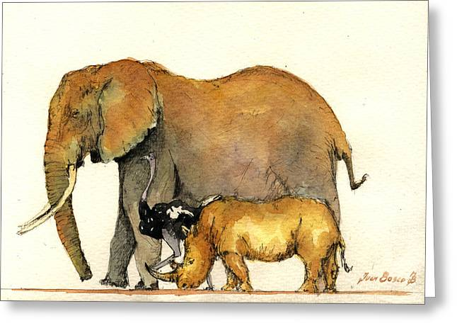 Elephant Ostrich And Rhino Greeting Card by Juan  Bosco