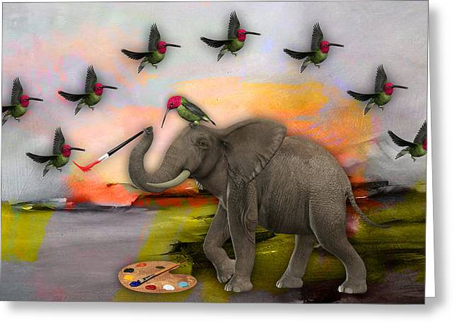 Elephant Creating Birds Greeting Card