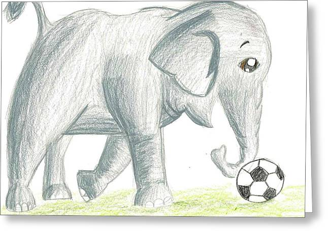 Greeting Card featuring the drawing Elephant Playing Soccer by Raquel Chaupiz