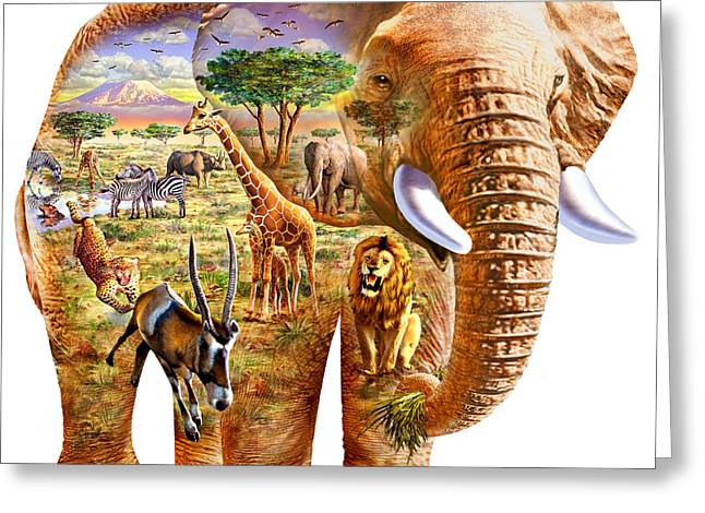 Elephant Puzzle Greeting Card by Adrian Chesterman