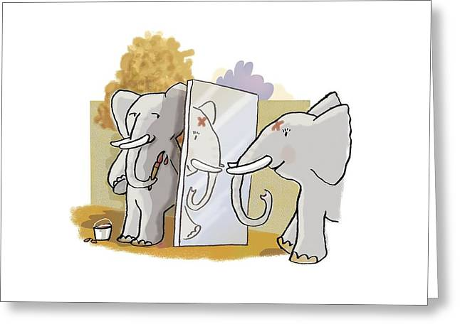 Elephant Self-awareness, Artwork Greeting Card