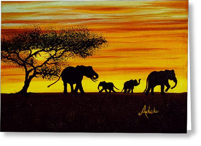 Elephant Silhouette Greeting Card by Adele Moscaritolo