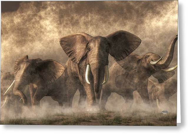 Elephant Stampede Greeting Card by Daniel Eskridge