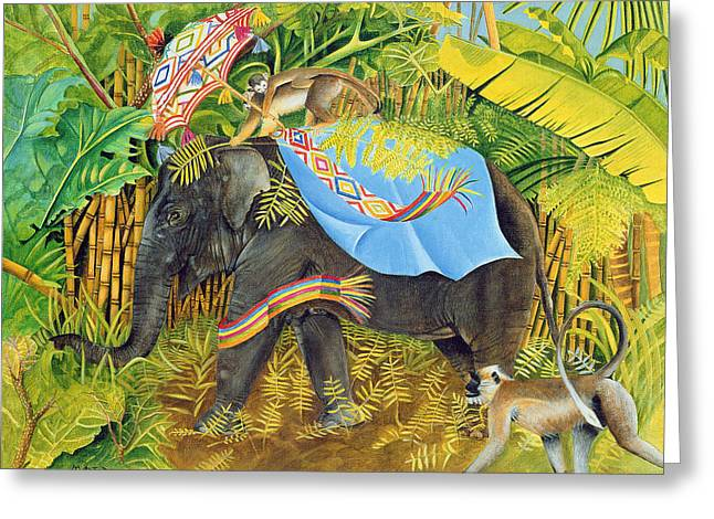 Elephant With Monkeys And Parasol, 2005 Acrylic On Canvas Greeting Card