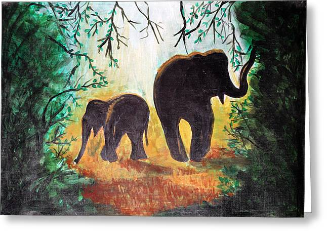 Elephants At Night Greeting Card