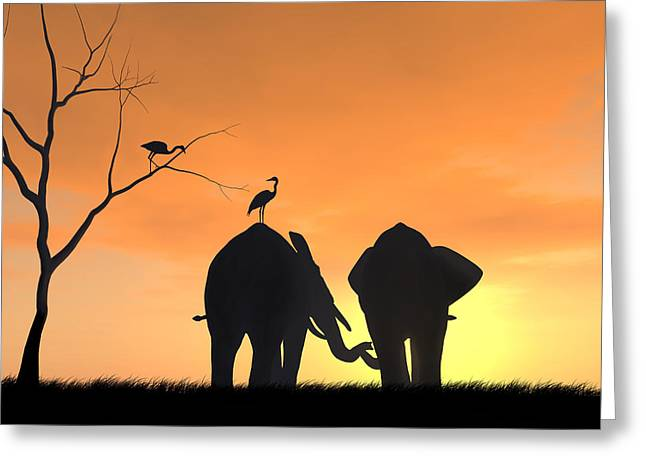 Elephants In Friendship Greeting Card