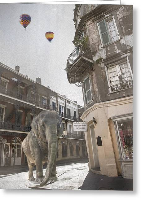 Elephants In The City Greeting Card by Alicia Morales