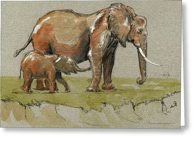 Elephants Greeting Card by Juan  Bosco