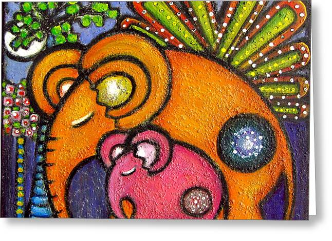 Elephant's Lullaby Mother And Baby Greeting Card
