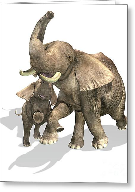 Elephants, Mother And Son Greeting Card by Leonello Calvetti
