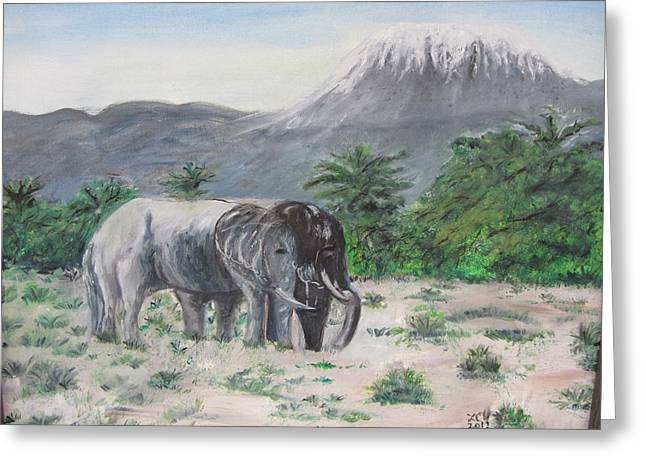 Elephants Strolling With View Of Mt. Kilimanjaro  Greeting Card