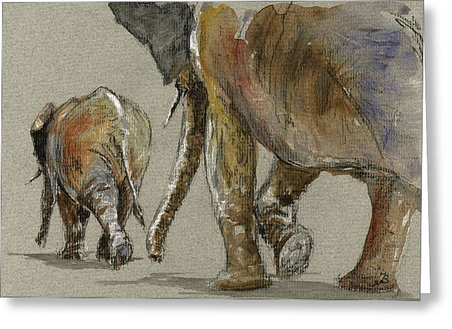 Elephants Walking Greeting Card by Juan  Bosco