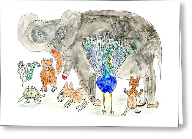 Elephoot And Friends Greeting Card by Helen Holden-Gladsky