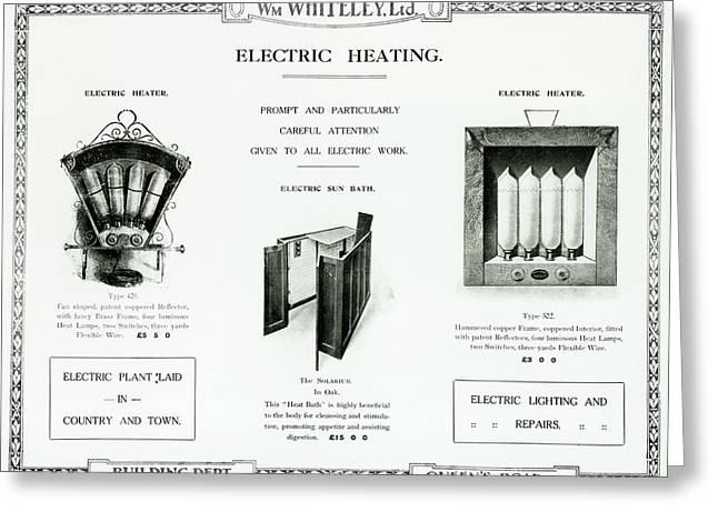 Eletric Heating, Wm Whiteley Ltd Greeting Card by English School