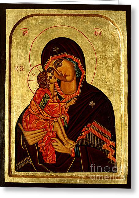 Eleusa IIi Icon Greeting Card by Ryszard Sleczka