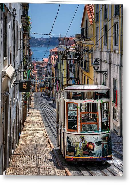 Elevador Da Bica Lisbon Greeting Card by Carol Japp