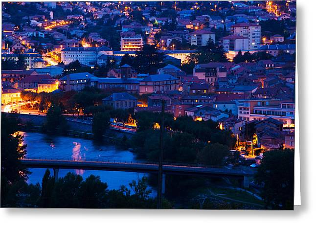 Elevated Town View At Dawn, Millau Greeting Card