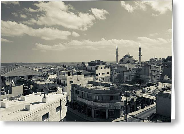 Elevated Town View With Mosque, Madaba Greeting Card