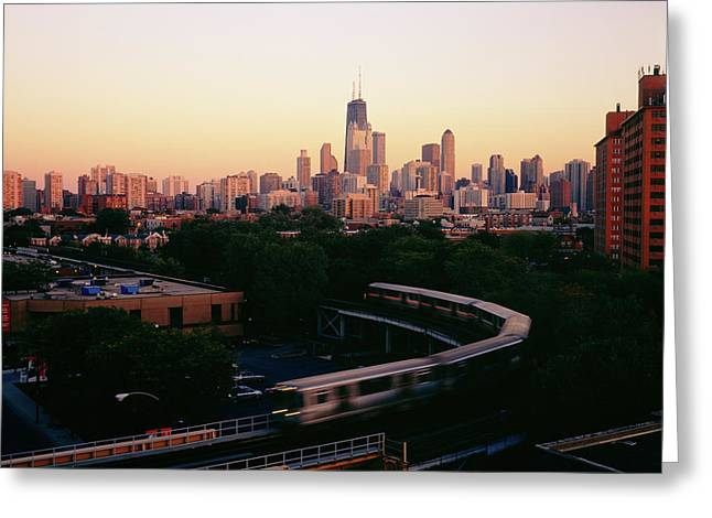 Elevated Train In Downtown Chicago Greeting Card
