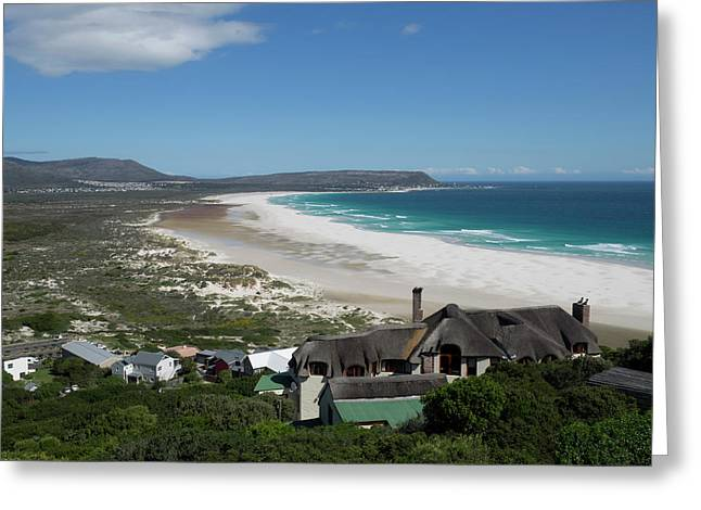 Elevated View Of A Bay, Noordhoek, Cape Greeting Card by Panoramic Images