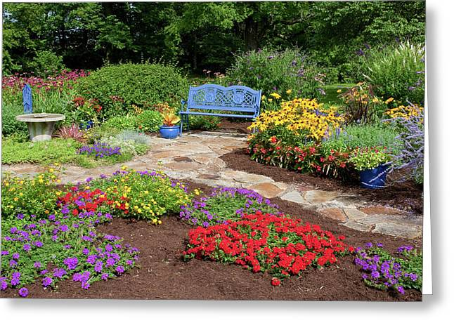 Elevated View Of A Flower Garden Greeting Card