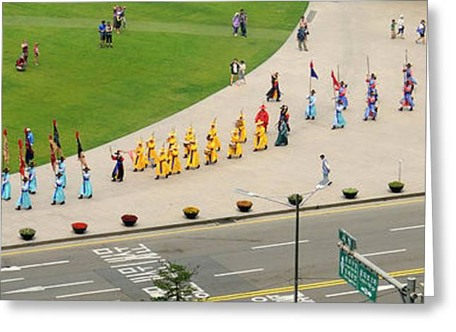 Elevated View Of A Procession Greeting Card by Panoramic Images