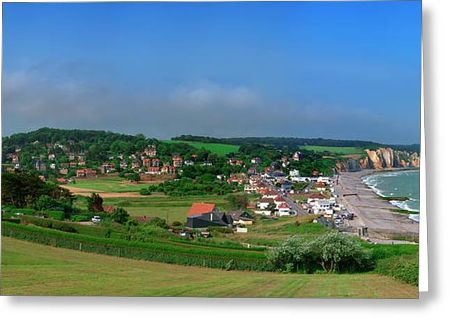 Elevated View Of A Town At Coast Greeting Card by Panoramic Images