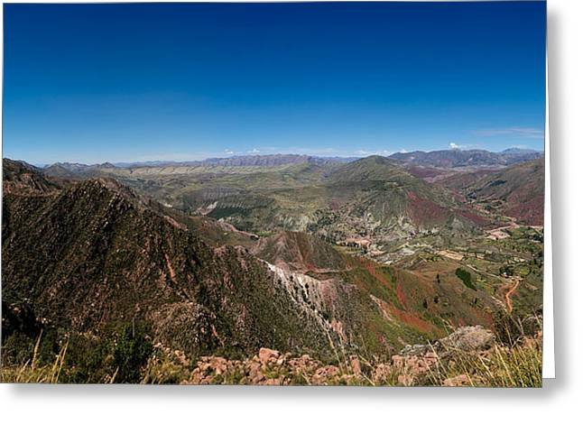Elevated View Of A Valley, Inca Trail Greeting Card