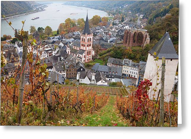 Elevated View Of Bacharach Greeting Card by Panoramic Images