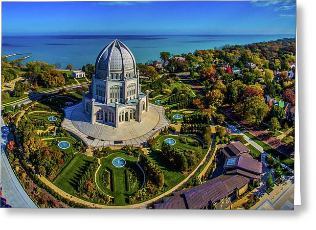 Elevated View Of Bahai Temple Greeting Card