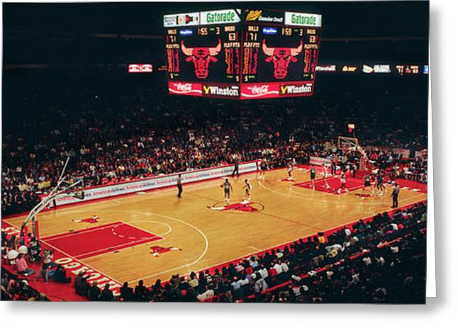 Elevated View Of Basketball Stadium Greeting Card