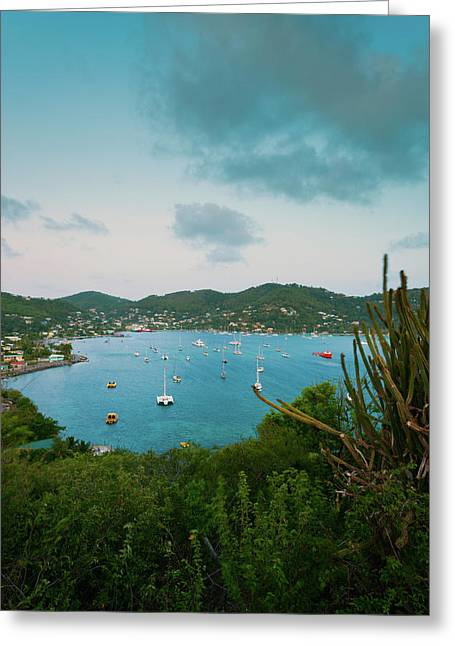 Elevated View Of Boats In Caribbean Greeting Card