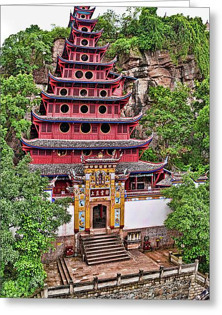 Elevated View Of Buddhist Temple Greeting Card by Panoramic Images