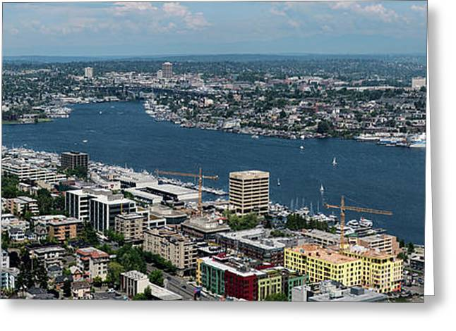 Elevated View Of City At Waterfront Greeting Card