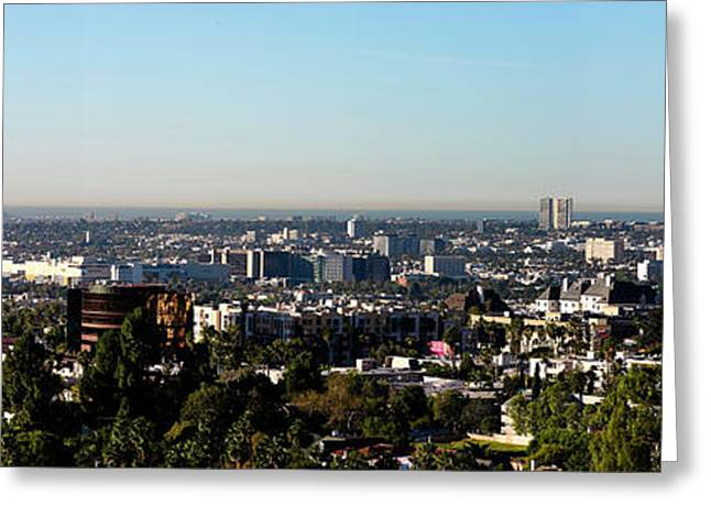 Elevated View Of City, Los Angeles Greeting Card by Panoramic Images